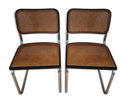 Chaises Cesca B32, Marcel Breuer, traineau et cannées, vintage