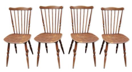 Quatre chaises Henri Julien éditées par Baumann, vintage, saloon, western, années 60