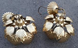 Suspension Jansen, maison Charles, vintage, feuilles dorées