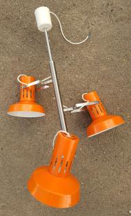 lustre 3 spots directionnels et orientables, vintage, années 70, orange