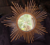 miroir soleil rotin et bambou 1960