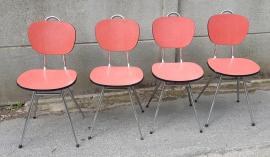 4 chaises Formica rouge, design, vintage, années 60