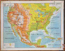 Carte scolaire murale vintage Etat Unis et Mexique -