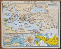 """Carte scolaire murale vintage """"le monde romain"""", """"le monde grec"""""""