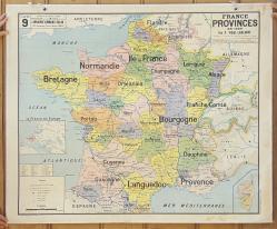 Carte scolaire murale vintage La France des provinces