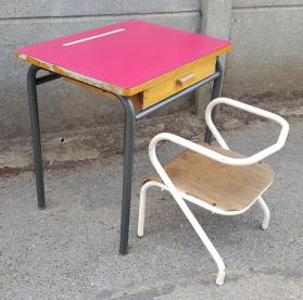 Bureau décolier, enfant, vintage, chaise Jacques Hitier