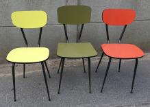 trio de chaises vintage années 50