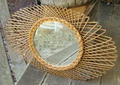 miroir rotin 1960 - oeil
