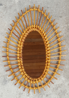 Miroir soleil  rotin vintage années 60