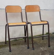 Deux chaises écolier hautes, vintage années 60