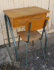 Bureau pupitre écolier avec casier (format ado / adulte), vintage, années 50 / 60