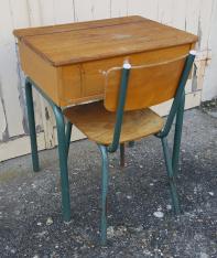 Bureau pupitre d'écolier enfant coffre et métal, vintage