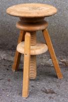 Tabouret à vis d'architecte en bois, vintage