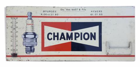 plaque en tôle Champion, bougies,  années 20
