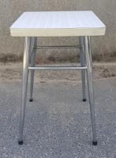 Tabouret formica blanc carré, vintage, années 70