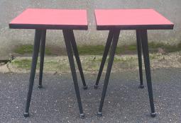 tabouret formica rouge vintage années 60