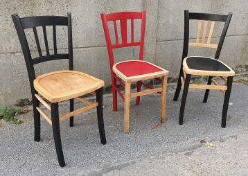 Trio de chaises de bistrot vintage, Luterma vintage, relookées
