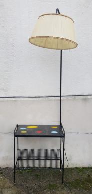 Lampadaire vintage tablette porte vynil années 50