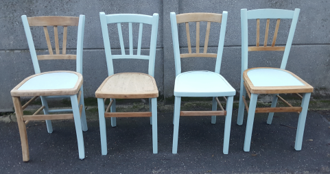 Quatre chaises de bistrot vintage, Luterma vintage, relookées