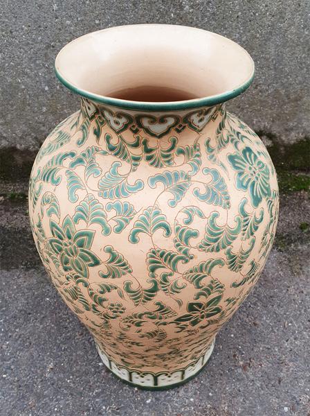 Effet vieilli Blanc antique en c/éramique Petite carafe Large avec motif floral Vert