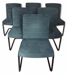 """Side Chair"" ou ""Sapper office chair"", velours bleu, Richard Sapper pour Knoll, années 90"