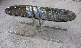 Table basse design années 70, chrome et verre