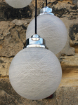 suspension scandinave vintage teck et opaline