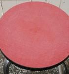 Tabouret de bar formica rouge et pieds chromés, vintage, années 60