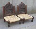 Paire de chaises basses marocaine ancienne