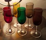 5 verres à liqueur multicolor vintage années 50