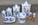 Set pots épices et condiments en faïence bleu et blanc, années 40