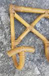 porte manteau mural patères bambou rotin, vintage, années 60