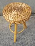 Tabouret tripode rafia et bambou, vintage, années 60