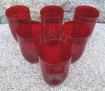 service de 6 verres orangeade, rouge, vintage, années 70