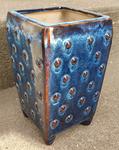 pot céramique porcelaine bleue à picot marron