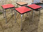 Tabourets Formica rouge et marron clair, vintage, années 60